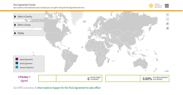 The Paris Agreement Tracker enables people to monitor countries' progress toward ratifying the Paris Agreement, and allows users to create their own combinations for bringing it into force.