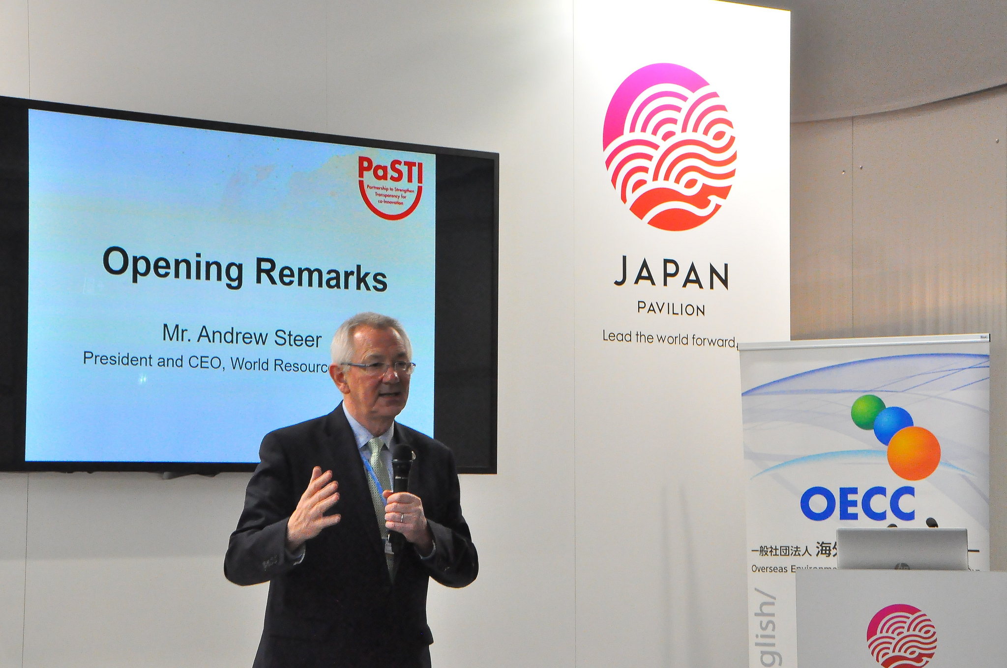 <p>Andrew Steer of World Resources Institute introduces Partnership to Strengthen Transparency for Co-Innovation (PaSTI) at COP24 in Katowice, Poland. Photo credit: COP24 Japan Pavillion/Flickr</p>