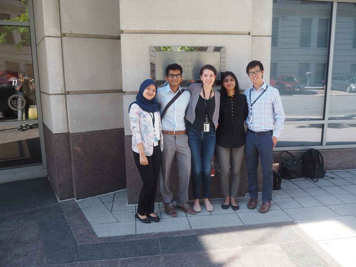 <p>Anindita Nur Annisa with friends in front of World Resources Institute's office.</p>
