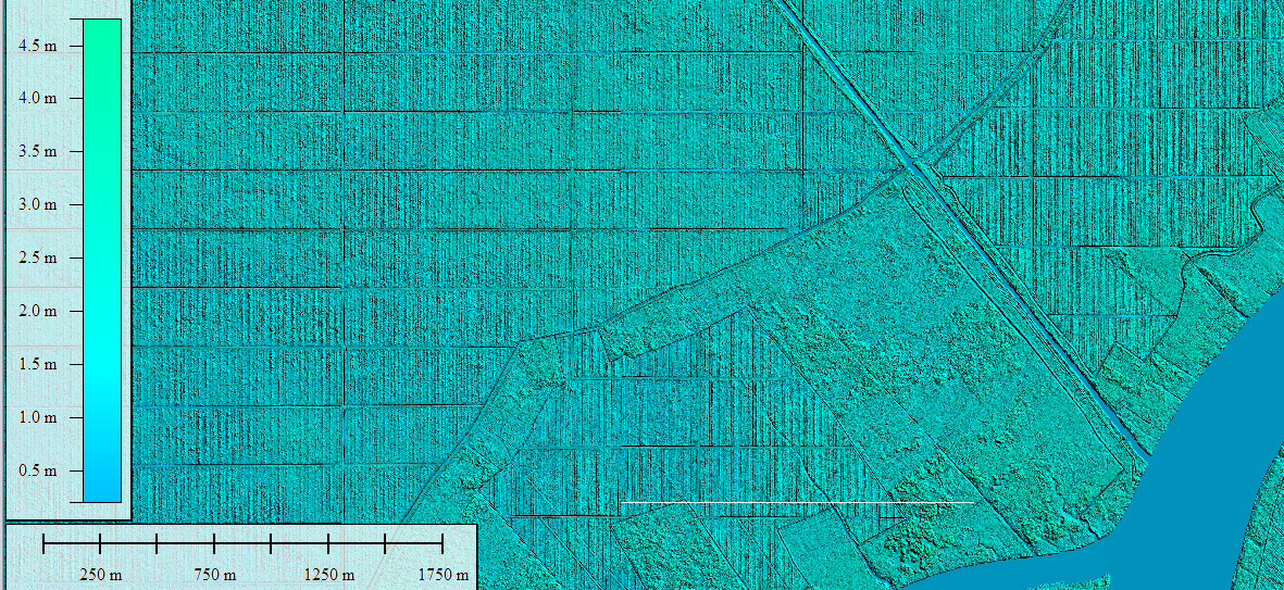 <p>Surface elevation and drainage mapped using LiDAR help determine water flow in peatlands. Photo by Peatland Restoration Agency</p>